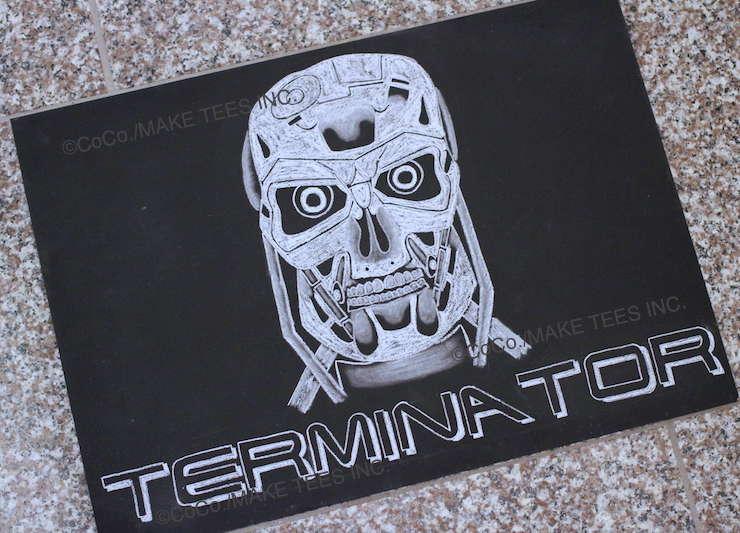 黒板チョークアート・ターミネーターの描き方